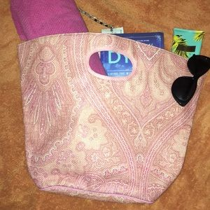 Victoria's Secret Pink Paisley Straw Beach Bag